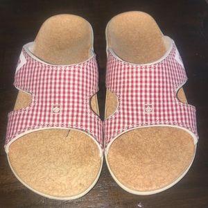 Spenco Red white plaid sandals 9